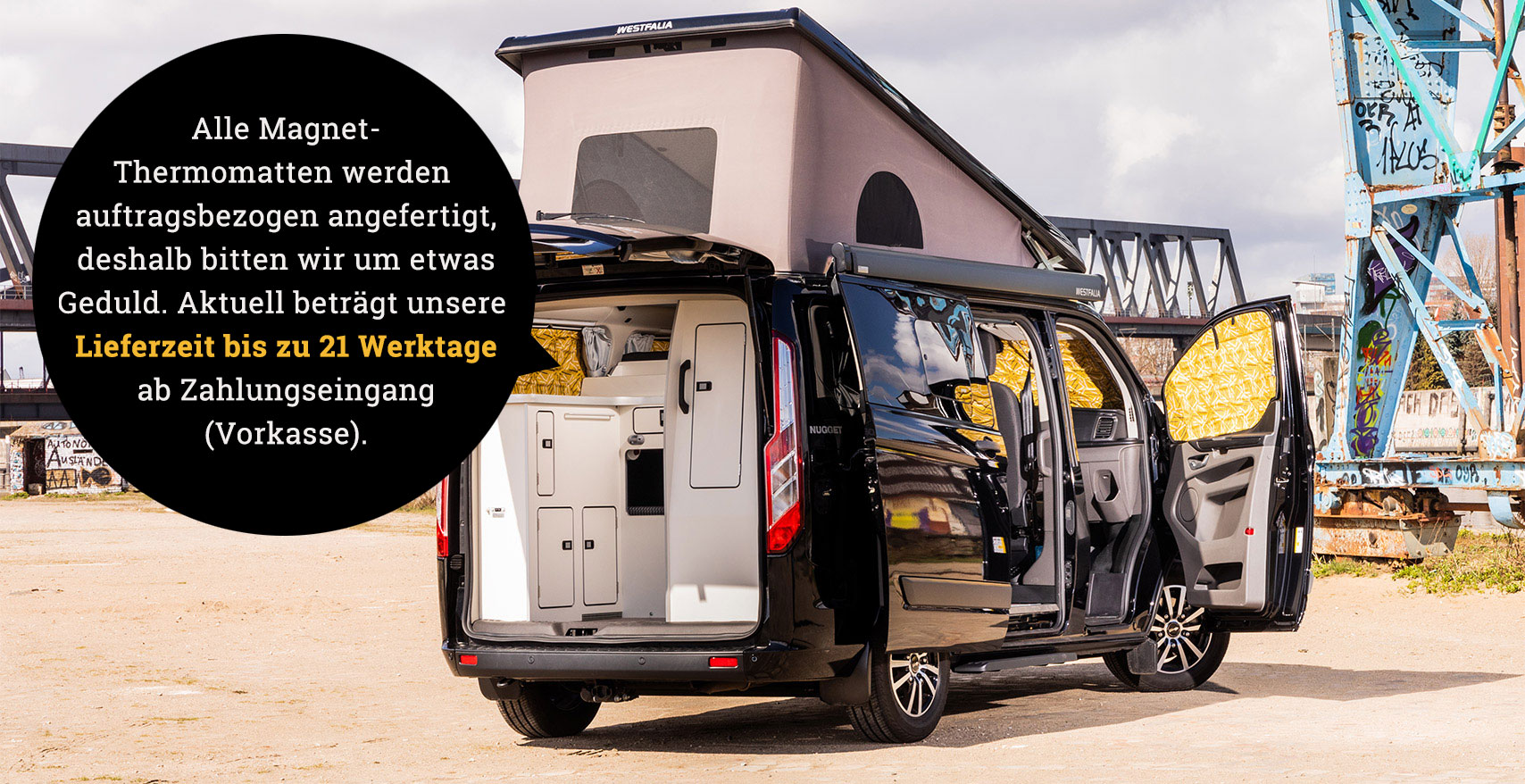 Project Camper Magnet-Thermomatten Ford Transit Nugget Funky Beach Lieferzeit